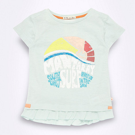 Mantaray - Girl+s pale green +Surf+ frilly hem t-shirt