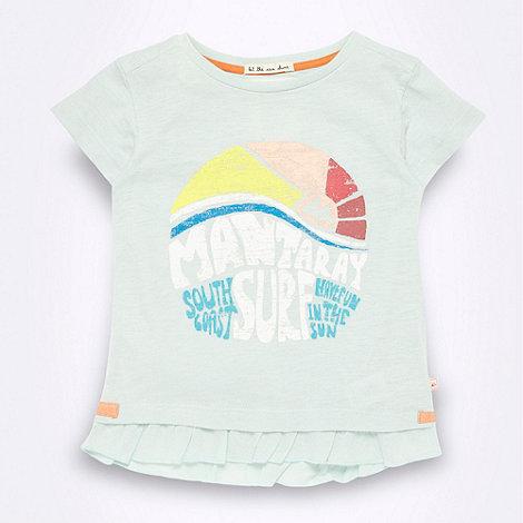 Mantaray - Girl+s pale green +Surf+ frilly hem t-shirt