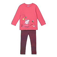 Peppa Pig - Girls' pink 'Peppa Pig' applique sweater and striped leggings set