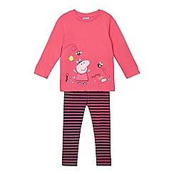 Peppa Pig - Girls' pink 'Peppa Pig' applique sweater and striped leggings set