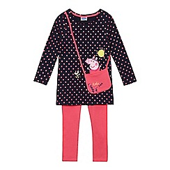 Peppa Pig - Girls' navy 'Peppa Pig' top and leggings set