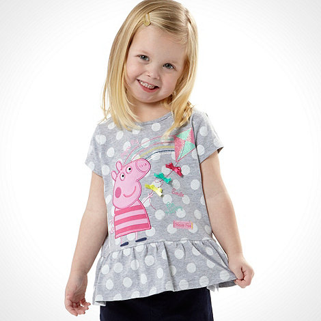 Peppa Pig - Girl's grey 'Peppa Pig' peplum top