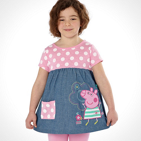 Peppa Pig - Girl+s pink +Peppa Pig+ chambray tunic and leggings set