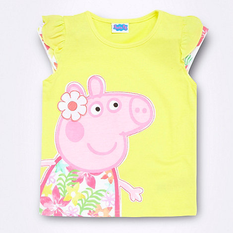 Peppa Pig - Girl+s yellow +Peppa Pig+ frilly sleeve t-shirt