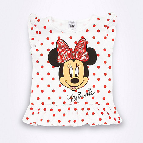 Disney - Girl+s white +Minnie Mouse+ peplum t-shirt