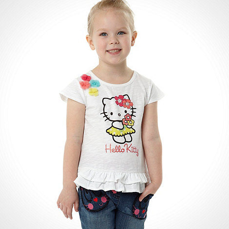 Hello Kitty - Girl+s white floral frilly tee