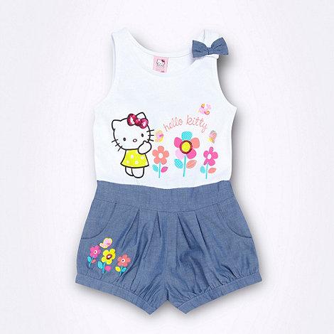 Hello Kitty - Girl+s white +Hello Kitty+ chambray playsuit