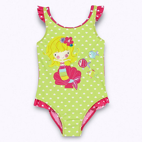 bluezoo - Girl+s green applique mermaid swimsuit