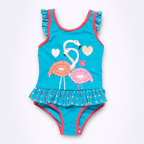 bluezoo - Girl's turquoise flamingo swimsuit