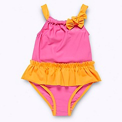 bluezoo - Girl's pink colour block swimsuit