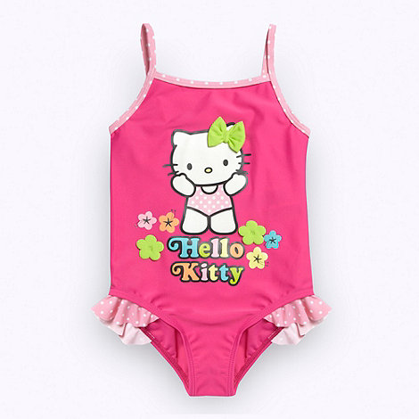 Hello Kitty - Girl+s pink +Hello Kitty+ flower swimsuit