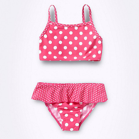 bluezoo - Girl+s pink spotted ruffled bikini