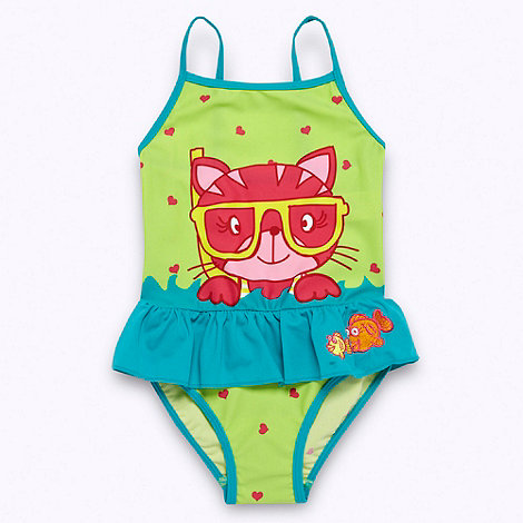 bluezoo - Girl+s green frilly cat swimsuit