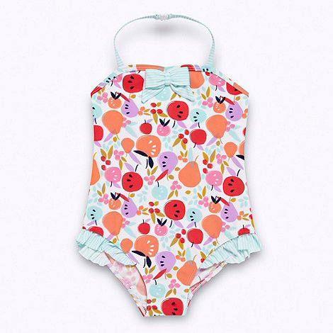 bluezoo - Girl+s pale blue fruit patterned swimsuit