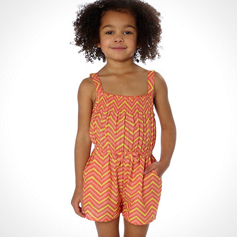 bluezoo - Girl+s orange diagonal stripe playsuit