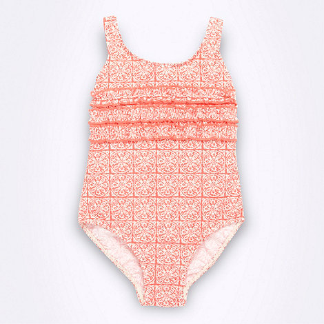Mantaray - Girl's light orange tile printed swimsuit