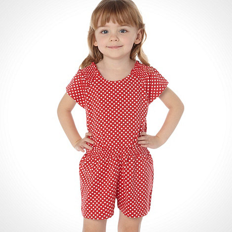 bluezoo - Girl+s red spotted jersey playsuit