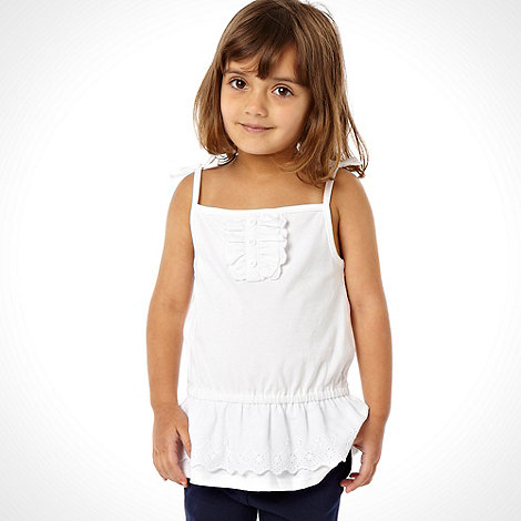 bluezoo - Girl+s pack of two white and blue frilled vests