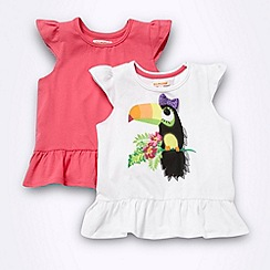 bluezoo - Girl's pack of two pink and white toucan printed t-shirts