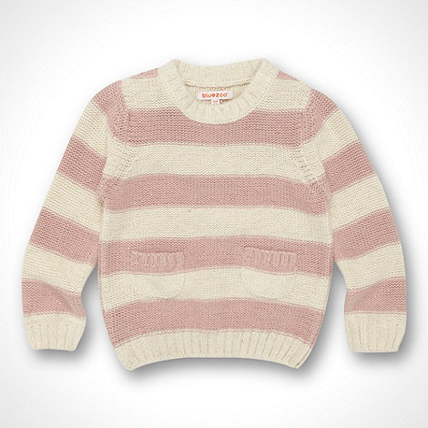 bluezoo - Girl+s pale pink striped metallic knit jumper