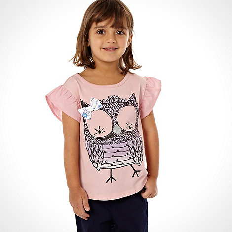 bluezoo - Girl's pink owl top