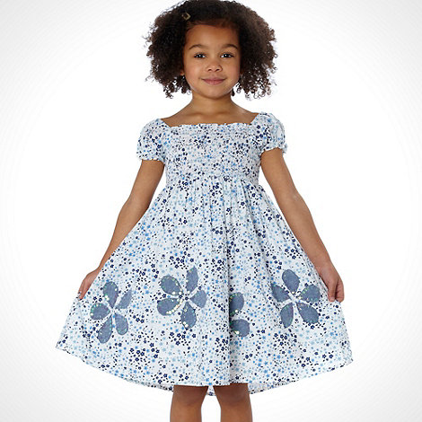 bluezoo - Girl+s blue ditzy applique hem dress