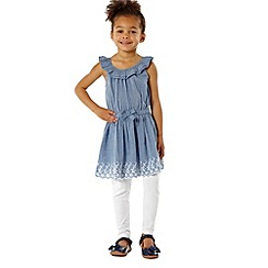 bluezoo - Girl's blue chambray tunic and leggings