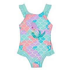 bluezoo - Girls' multi-coloured foil sparkle mermaid applique swimsuit