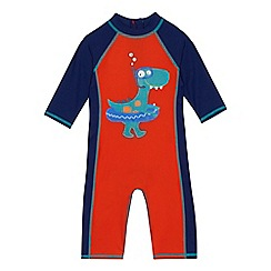 bluezoo - Boys' navy and orange dinosaur print sunsafe swimsuit