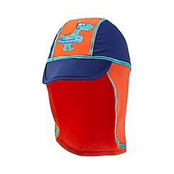 bluezoo - Boys' navy and orange dinosaur print keppi hat