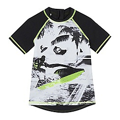 bluezoo - Boys' black surf print rash vest