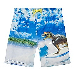 bluezoo - Boys' blue surfing dinosaur print swim shorts