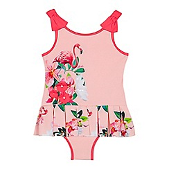 Baker by Ted Baker - Girls' pink flamingo print swimsuit