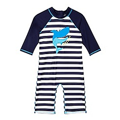 bluezoo - Boys' navy striped shark sun-safe swimsuit
