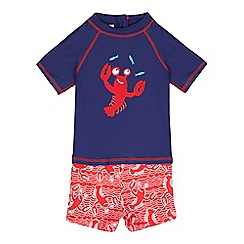 bluezoo - Boys' navy lobster applique two piece swim set