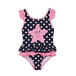 bluezoo - Girls' navy polka dot print starfish applique swim suit