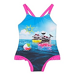 bluezoo - Girls' pink happy dolphin swimsuit