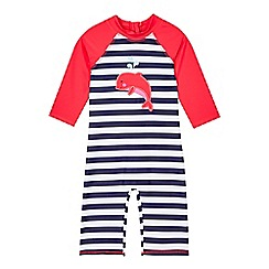 bluezoo - Girls' pink striped dolphin sun-safe swimsuit