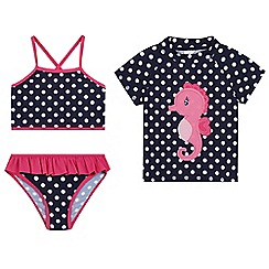 bluezoo - Girls' three piece seahorse swim set
