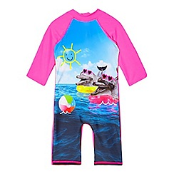 bluezoo - Girls' pink dolphin photograhic print sun-safe swimsuit