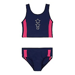 bluezoo - Girls' navy diamante star detail tankini set