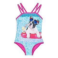 bluezoo - Girls' blue photographic dog swimsuit