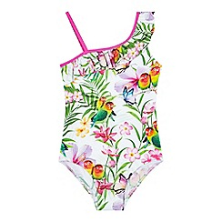 bluezoo - Girls' white bird print swimsuit