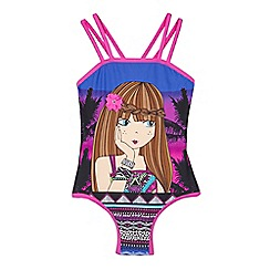 bluezoo - Girls' pink Aztec girl print swimsuit