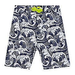 bluezoo - Boys' navy wave print swim shorts
