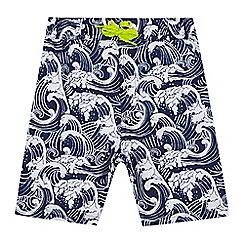 bluezoo - Boys' navy wave print swim shorts