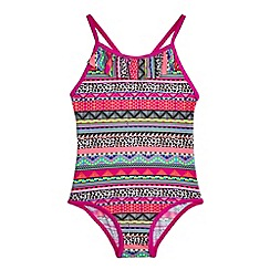 bluezoo - Girls' pink Aztec print swimsuit