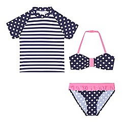 bluezoo - Girls' navy striped and polka dot print bikini and swim top set