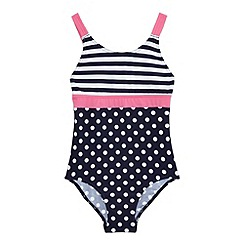 bluezoo - Girls' navy spots and stripes print swimsuit