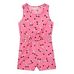 bluezoo - Girls' pink cherry print playsuit